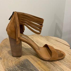 Size 8.5 BCBGeneration suede stacked heel sandals